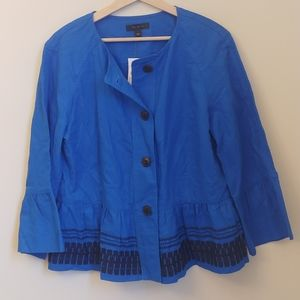 NEW Ann Taylor Blue Black Embroidered Linen Jacket